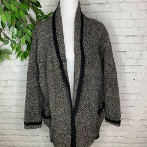 Vintage Marled New Wool Heavy Open Knit Cardigan